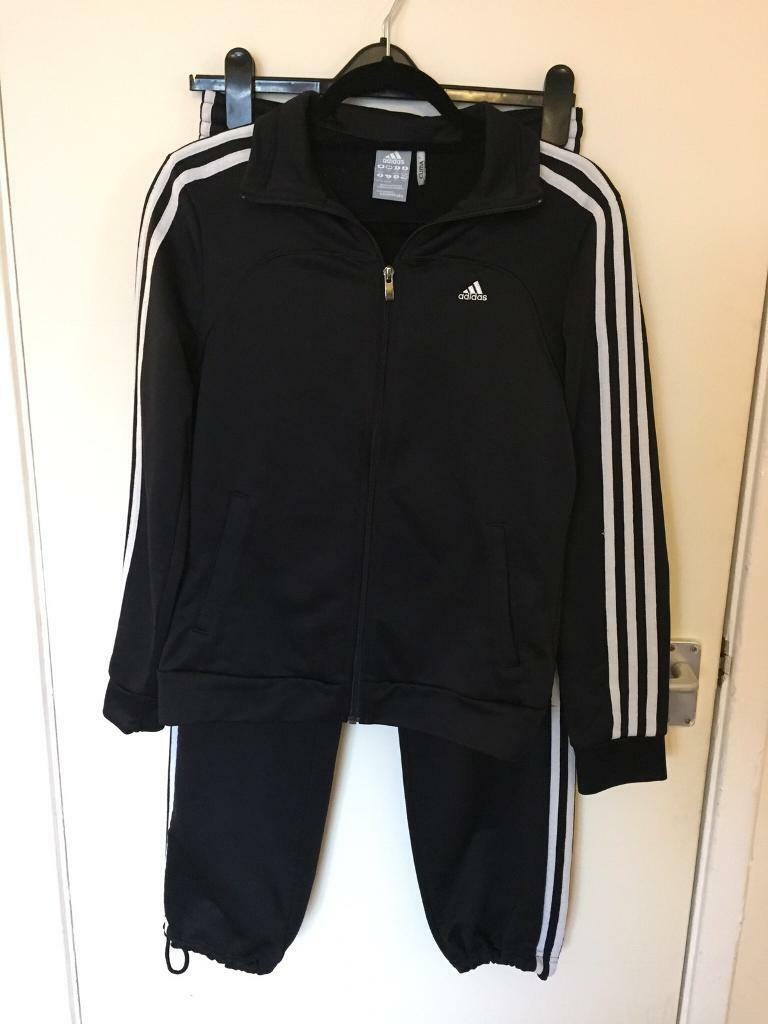 Lady's Black Adidas Tracksuit.