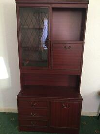 Immediate sale: Two matching mahogany display cabinet & corner unit