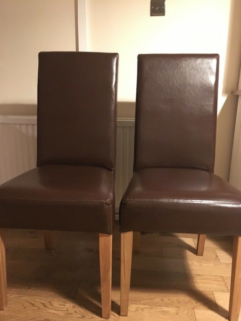 2 x chocolate brown leatherette and suede dining chairs ...