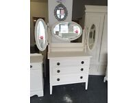 Gorgeous standing dressing table finished in antique white shabby chic