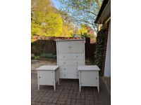 Wooden Chest Drawers and Side Tables Set