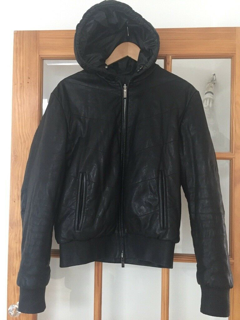 b54417ad3 Lovely Men's Armani black real leather bomber jacket with hood.,,size large  and hardly worn | in Kirby Cross, Essex | Gumtree