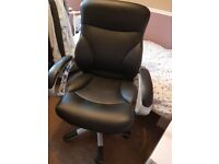 Large black leather swivel office chair