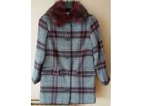 Checked Ladies Coat with faux fur collar. Size 12.