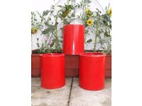 X3 Painted Terracotta Chimney Pots - Nice for Herbs.