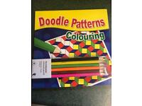 Doodle patterns and colouring pencils