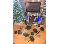Weights Bench and weights. 4x Bars arm & leg curl