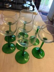 """Retro Vintage """"as new"""" 6x green steam hock glasses *reduced quick sale moving house*"""