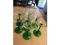 "Retro Vintage ""as new"" 6x green steam hock glasses *reduced quick sale moving house*"