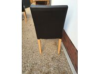 Faux Brown Leather and Oak Dining Chairs x4