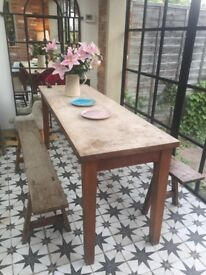 Oak table and antique benches