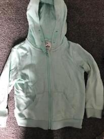 Girls mint 3-4yrs zipped hoodie