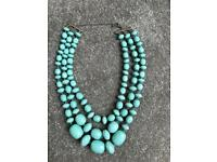 "Accessorize Blue Teal Plastic Bead Jewel 3 Level Necklace 17-21"" Long"