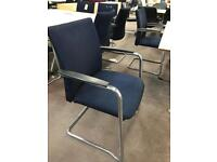 Chrome and Navy Canter Lever Stacking Chairs