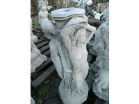 Three graces bird bath concrete stone garden ornament