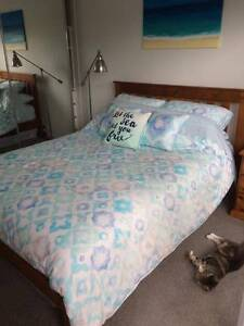 Timber queen size bed + bed side table West End Brisbane South West Preview