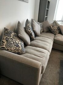 Corner Pillow Back Fabric Sofa & Footstool (right hand facing)