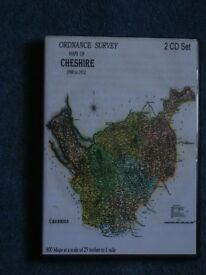 Ordnance Survey maps (800) of Cheshire (25 inches to the Mile). 1900 – 1912 on 2 CD roms