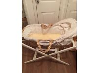 Mamas and Papas wicker Moses basket and white stand