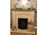 Verona Marble Fireplace Marfil Stone (Fire not included)
