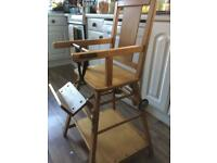 Retro wooden child's highchair