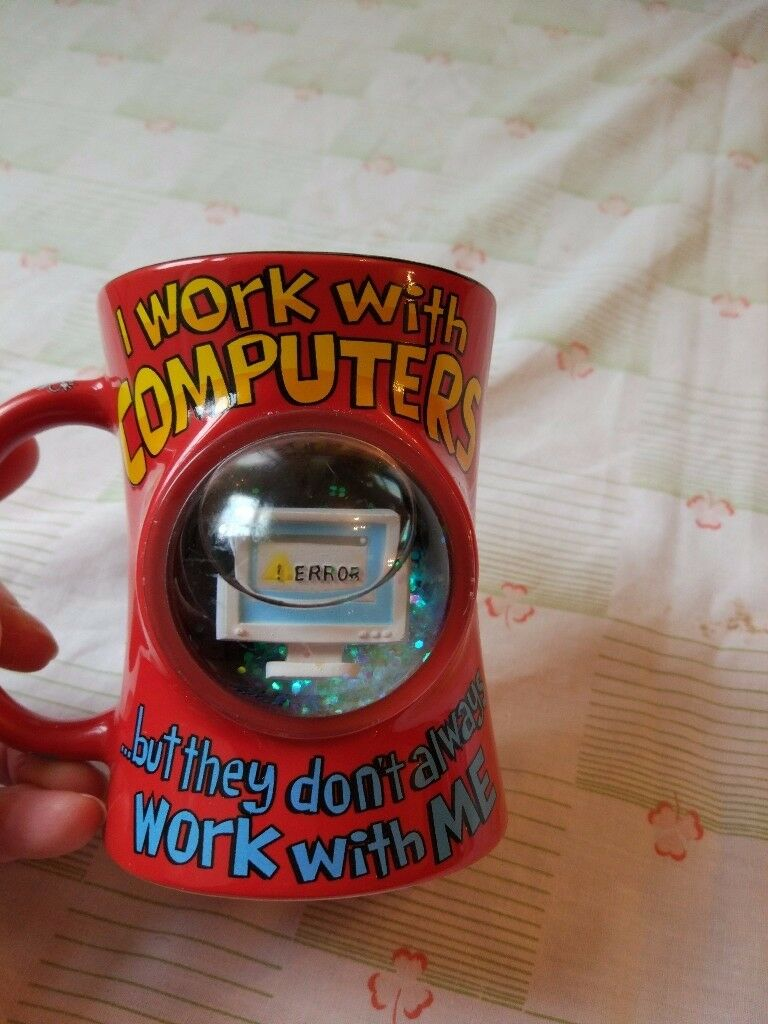 Novelty ' I work with Computers' mug. As new.