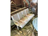 heavy metal industrial garden pub restaurant bench seating