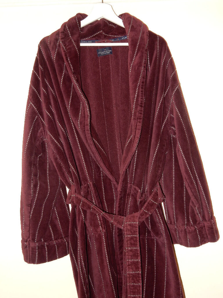 BHS Luxury Long Dressing Gown ROBE L Atlantic Bay Men\'s Burgundy Red ...