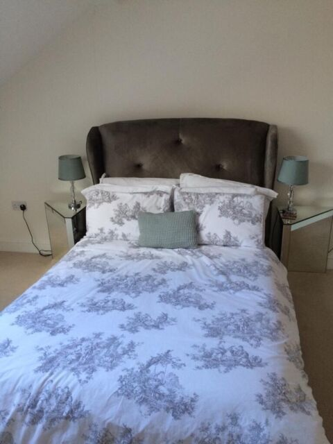 buy online 59ed3 d3853 Next Home Grey/Silver Velvet Double Bed Frame and Headboard | in Lichfield,  Staffordshire | Gumtree