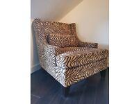 Unique beige and brown Zebra print armchair