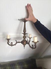 3 arm brass chandelier