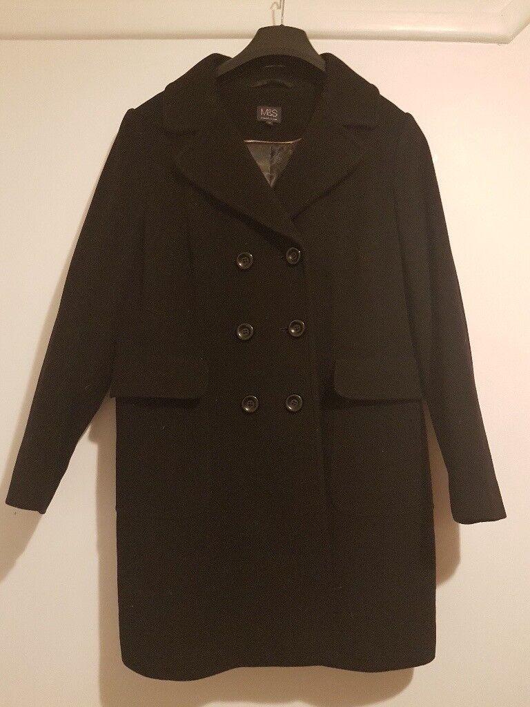 Ladies Black Winter Lined Coat - M&S Italian Wool design - size 16