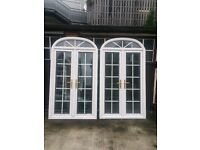 Used 2 x uPVC Georgian style French double glazed arched doors