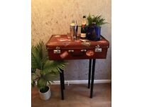 Retro Vintage Suitcase Console Table Storage and Matching Mirror