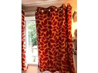 Red and cream curtains 135cm by 137cm