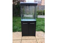 Large fish tank with cabinet, pump, heater and filters