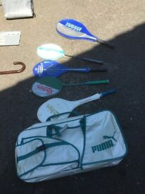 Assortment of Tennis and Badminton Rackets and Carry Case.