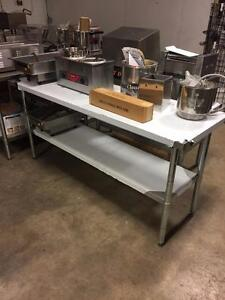 NEW 8' STAINLESS STEEL TABLE - $250 - STORYE'S RESTAURANT EQUIPMENT - UNBELIEVABLE PRICING