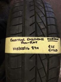 195/55/16 195-55-16 1955516 87H GOODYEAR EXCELLENCE RUNFLAT TYRE