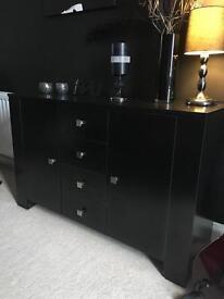 4 drawer 2 door black sideboard
