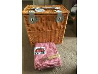 Wicker Picnic Basket / Cool Box + Red & White Gingham Picnic Cloth Stella Artois Logo) + Opener
