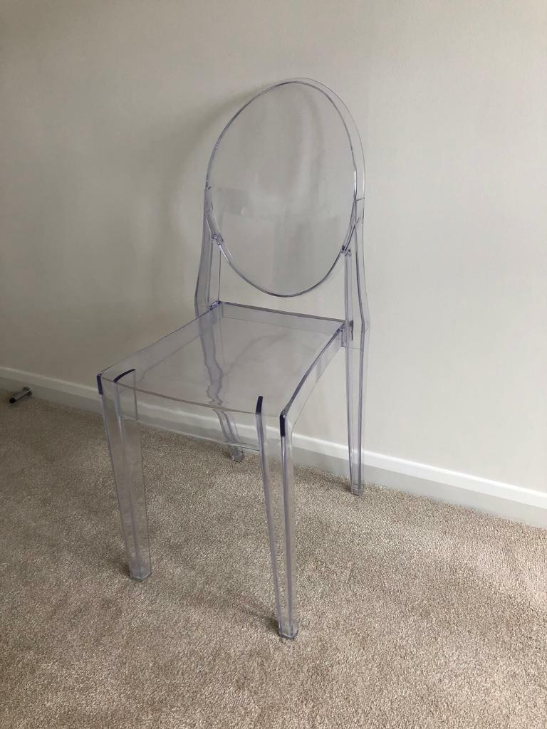 Clear ghost style plastic victoria chair