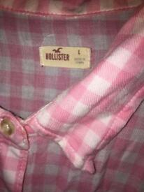 Hollister pink and white shirt