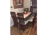 Marble dining table with six chairs