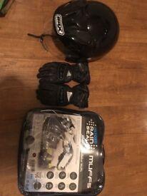 Handlebar muffs, gloves and helmet mint condition