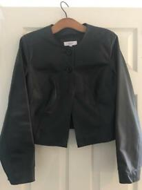BLACK NEXT LADIES LEATHER JACKET SIZE 14 - as new condition