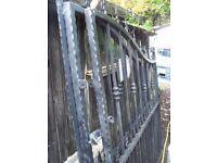 Substantial painted galvanised steel driveway gates