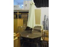 ROBERT DYAS WOODEN GARDEN TABLE AND 4 CHAIRS WITH PARASOL