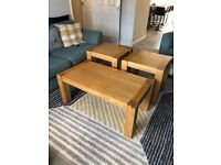 Solid wood coffee table and side tables