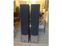 Yamaha NS-120 floor-standing speakers (pair) in black wood veneer and silver facia